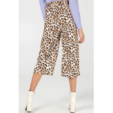 Lovely Stylish High Waist Leopard Printed Yellow Pants