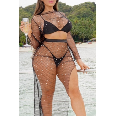 Lovely Sexy O Neck Pearl Decoration Black Cover-up(Two-piece/Without Lining)