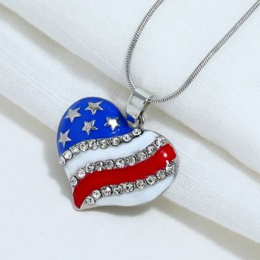 Lovely Independence Day Fashion Patchwork Rhinestone Decoration Blue Alloy Necklace