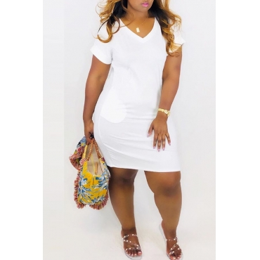 Lovely Casual V Neck White Mini A Line Dress
