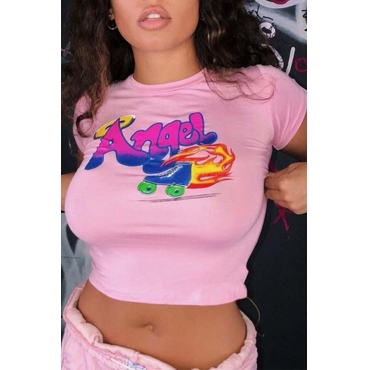 Lovely Casual O Neck Letter Printed Light Pink T-shirt