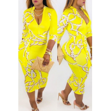 Lovely Stylish V Neck Printed Hollow-out Yellow Ankle Length A Line Dress