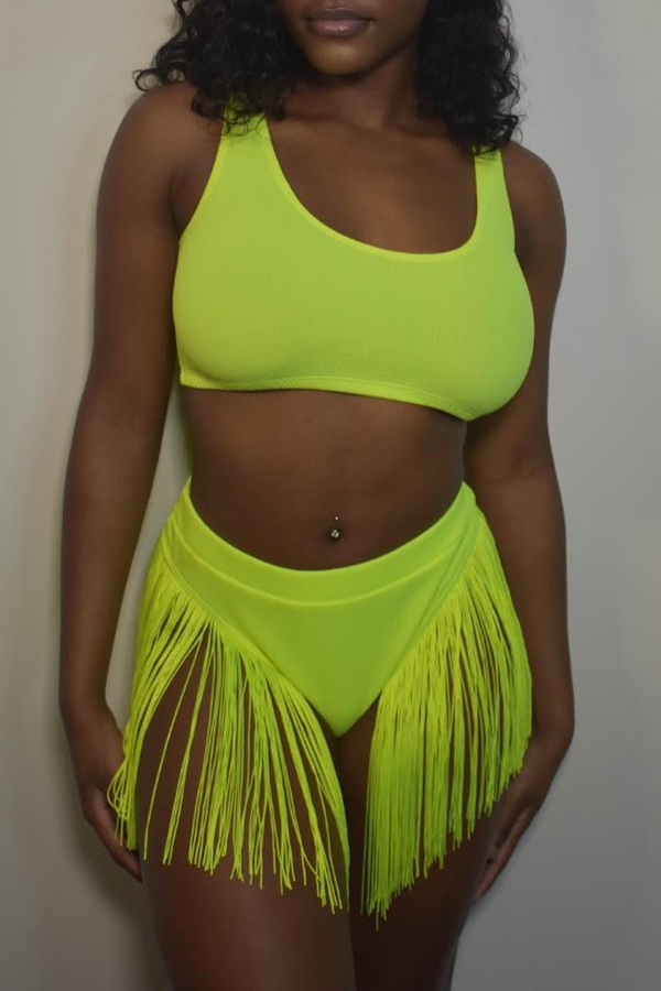 Lovely Tassel Design Green Two-piece Swimwear