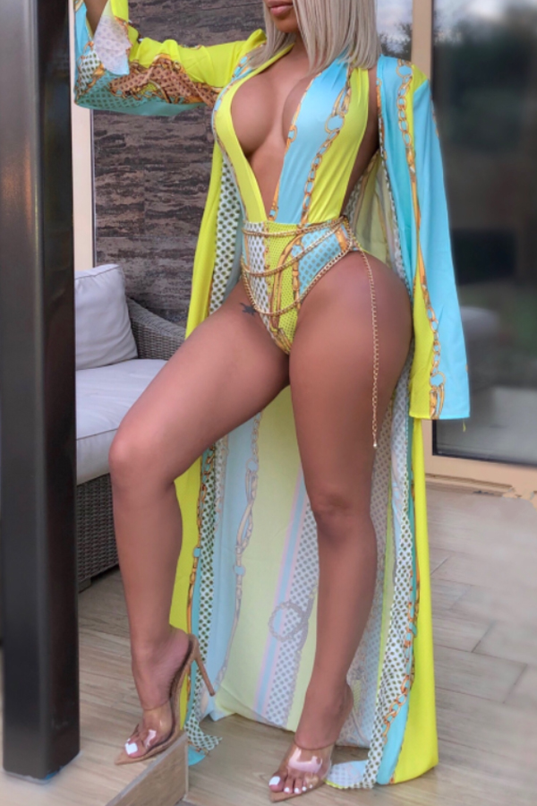 Lovely Deep V Neck Printed Yellow One-piece Swimwear(With Shawl)