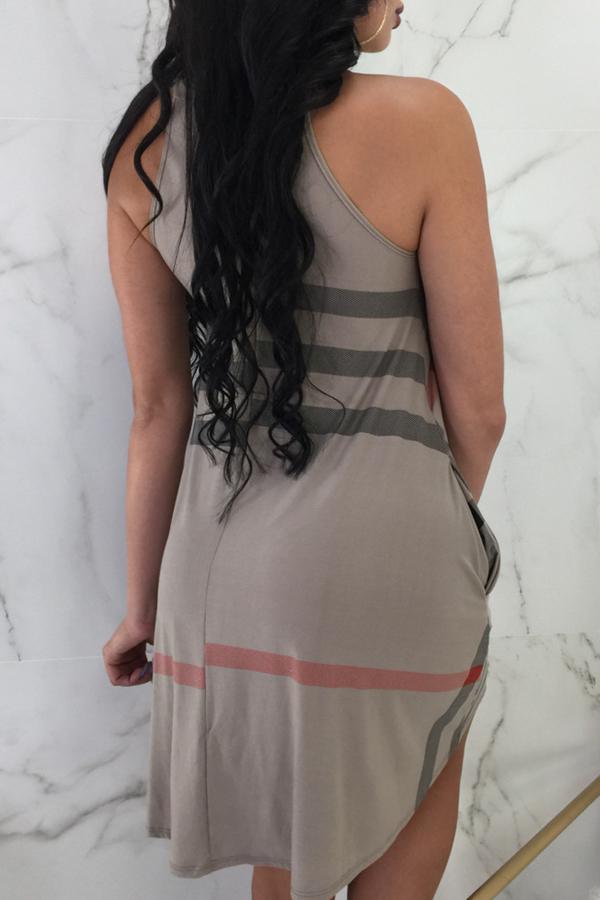 Lovely Casual Printed Coffee Asymmetrical Mini Dress