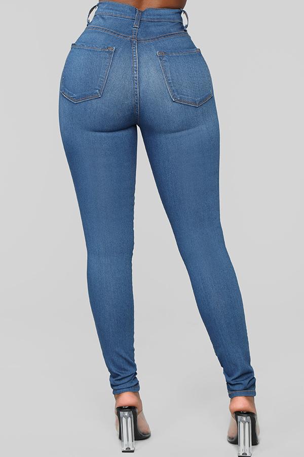 Lovely Casual Zipper Design Blue Jeans