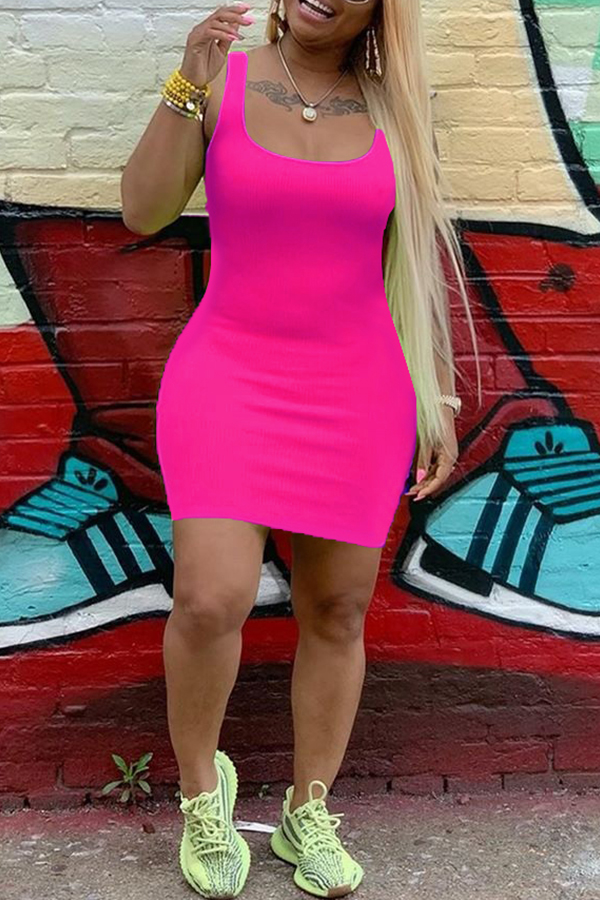 Lovely Casual U Neck Rose Red Mini Dress
