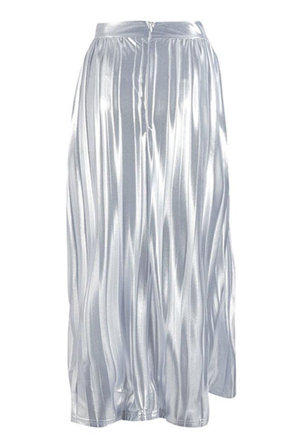 Lovely Sweet Drape Design Silver Mid Calf A Line Skirt