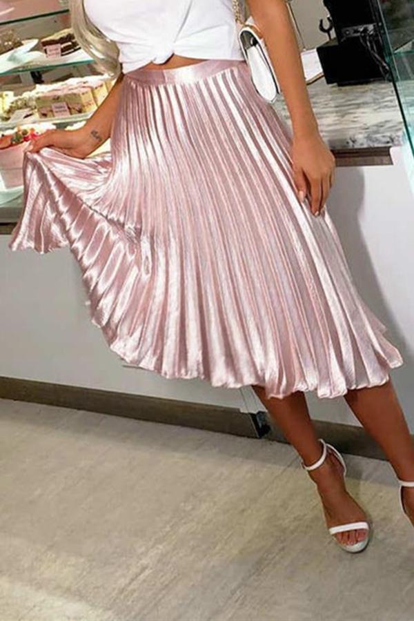 Lovely Sweet Drape Design Light Pink Mid Calf A Line Skirt