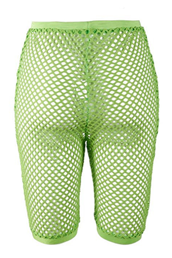 Lovely Sexy High Waist Hollow-out Green Shorts(Without Lining)