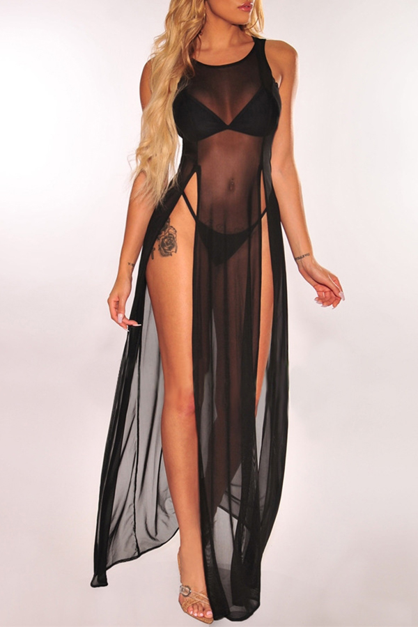 Lovely Sexy Side Split Black Cover-up(Without Lining)