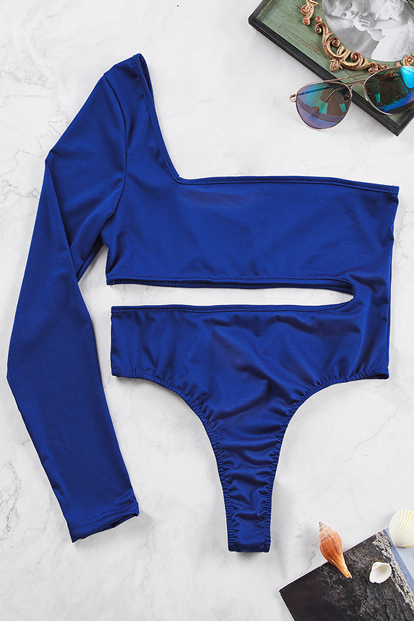 Lovely One Shoulder Hollow-out Royal Blue One-piece Swimwear