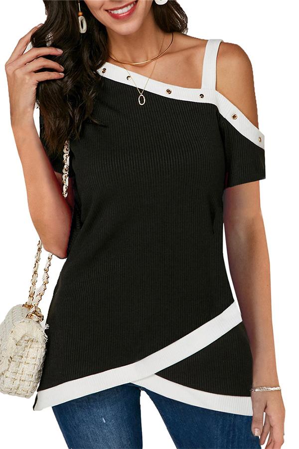 Lovely Casual One Shoulder Patchwork Black Blouse