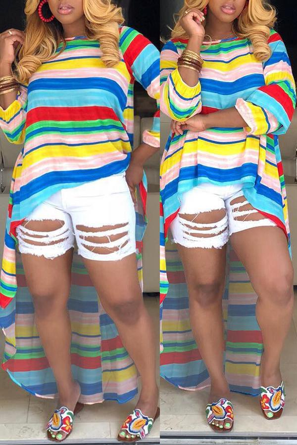 Lovely Casual O Neck Striped Asymmetrical Multicolor Blouse