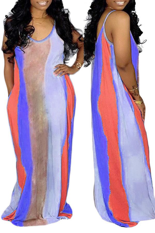 Lovely Casual U Neck Striped Purple Floor Length Dress