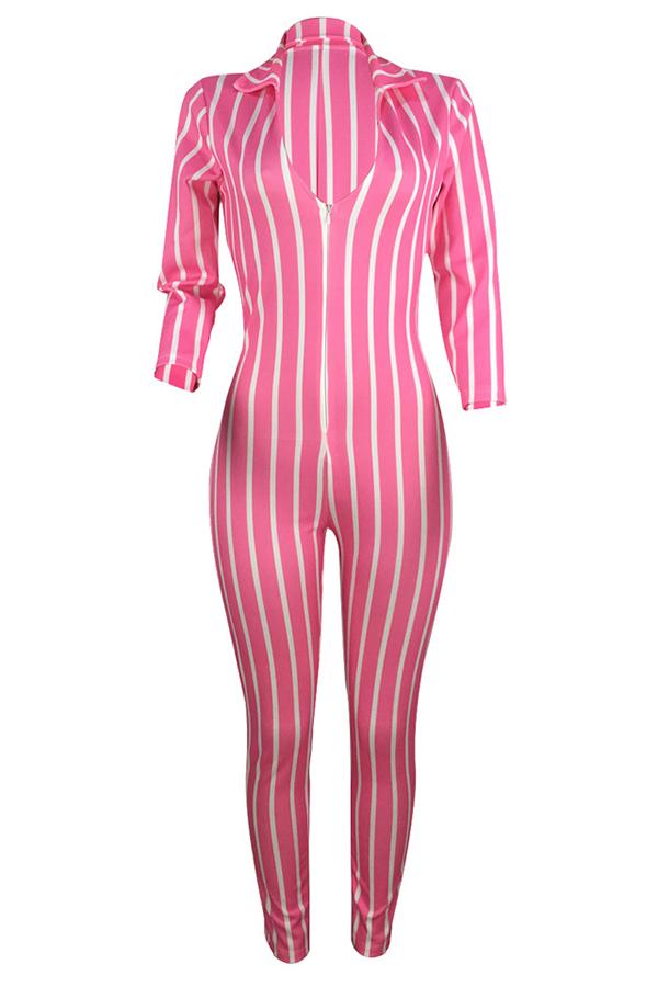 Lovely Casual V Neck Striped Light Pink One-piece Jumpsuit