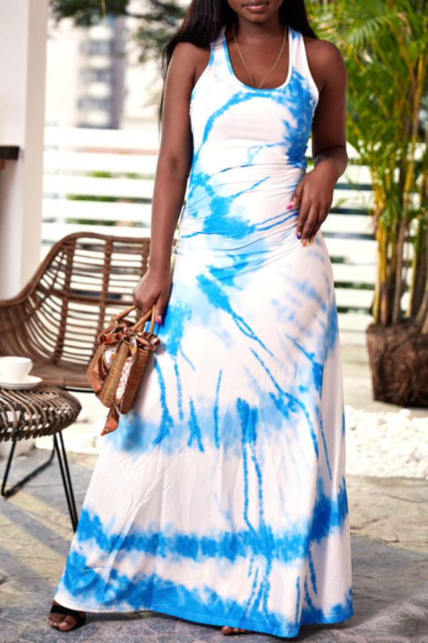 Lovely Casual U Neck Printed Baby Blue Floor Length Dress