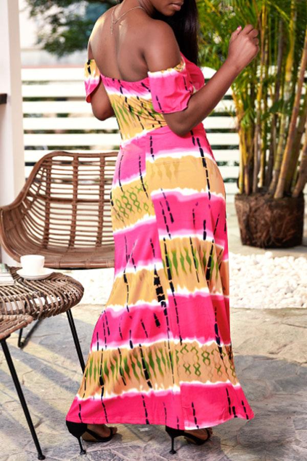 Lovely Bohemian Off The Shoulder Printed Pink Floor Length Dress
