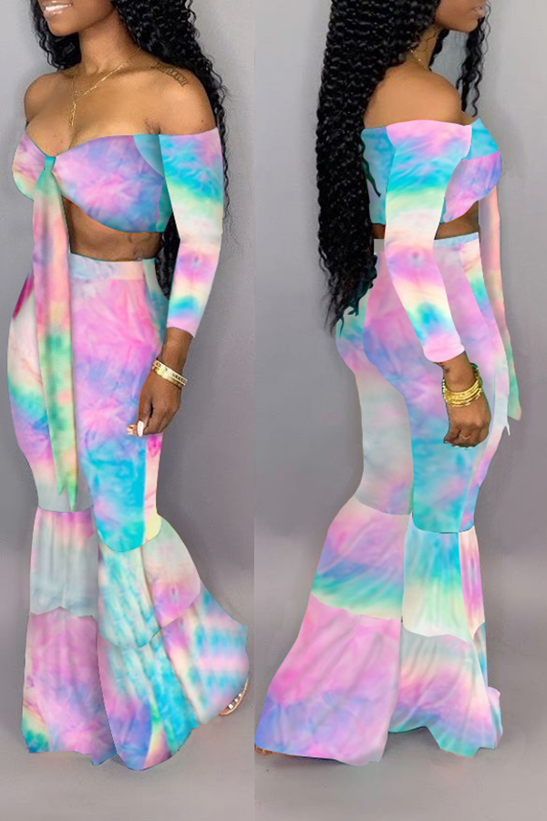 Lovely Casual Off The Shoulder Printed Pink Two-piece Pants Set