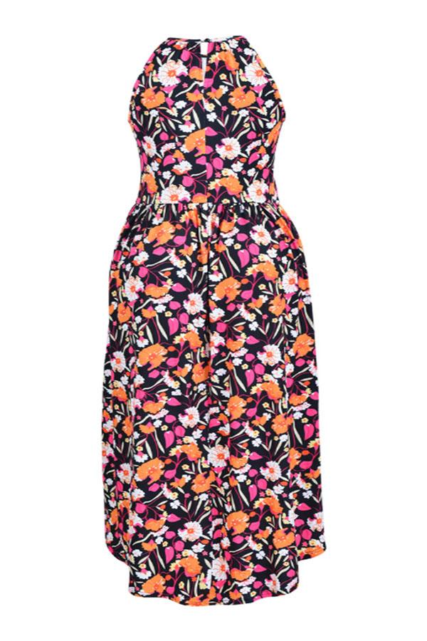 Lovely Bohemian Printed Black Cotton Knee Length A Line Plus Size Dress