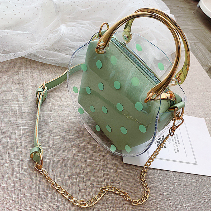 Lovely Stylish Dot Printed See-through Green PU Crossbody Bag