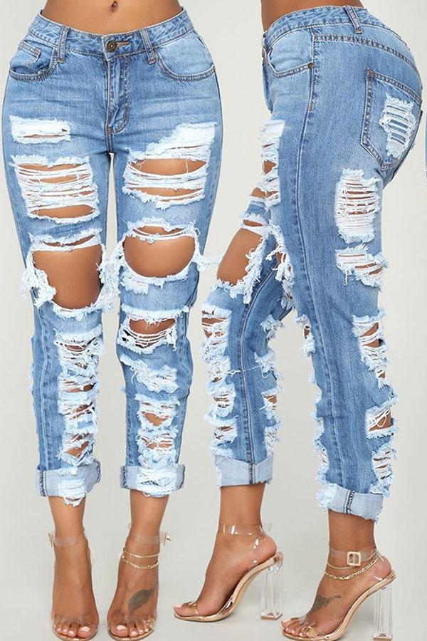 Lovely Casual Mid Waist Broken Holes Blue Jeans