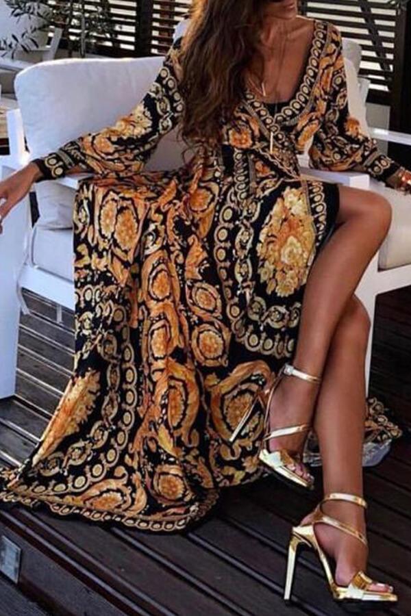 Lovely Vintage V Neck Printed Yellow Floor Length Prom Dress