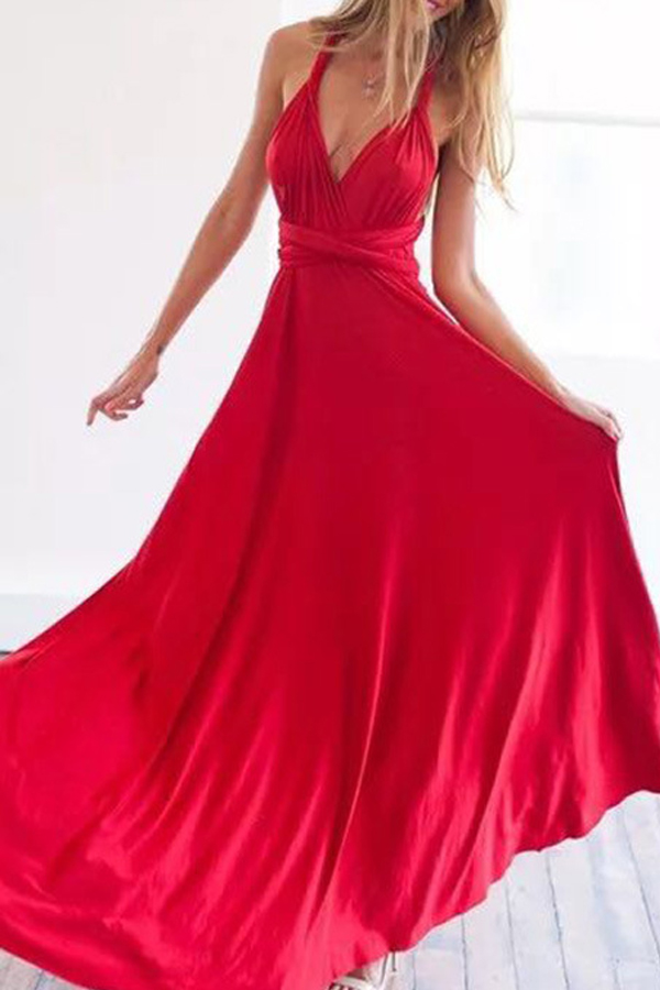 Lovely Stylish Halter Neck Hollow-out Red Floor Length A Line Prom Dress