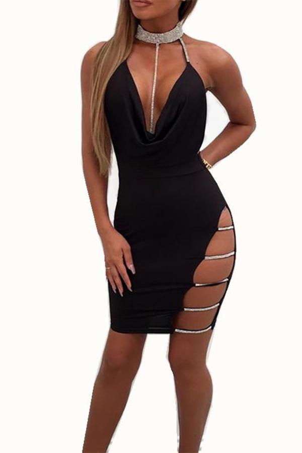 Lovely Sexy Halter V Neck Backless Black Mini Prom Dress