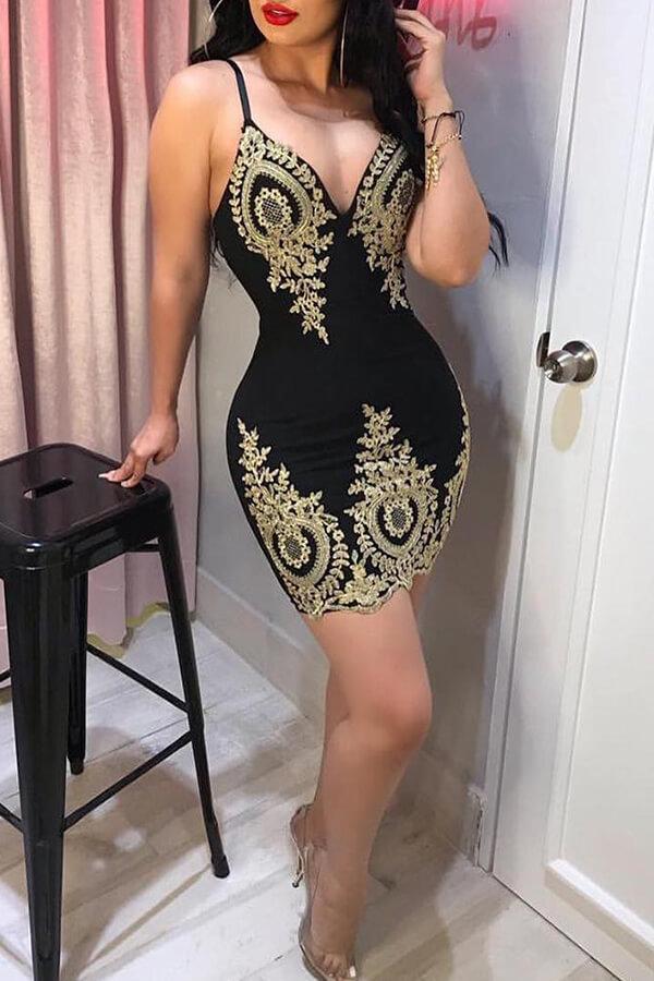 Lovely Sexy V Neck Spaghetti Straps Printed Black Knee Length Prom Dress