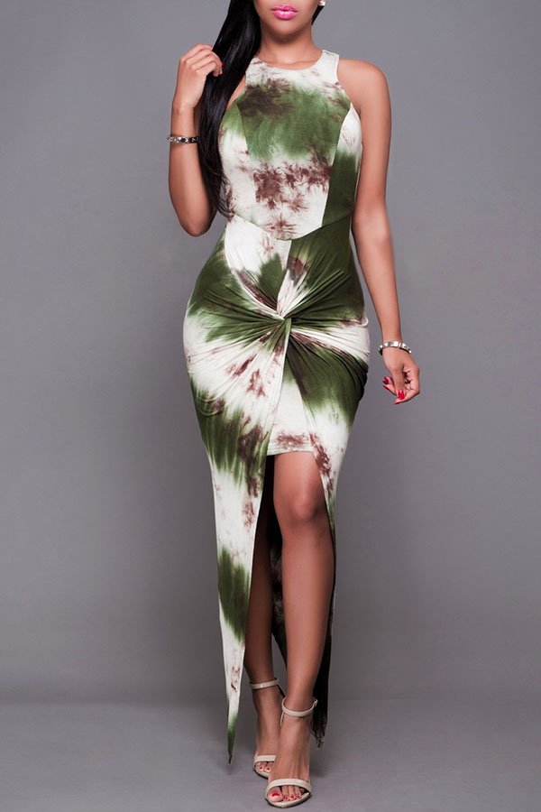Lovely Casual Printed Asymmetrical Green Ankle Length Dress