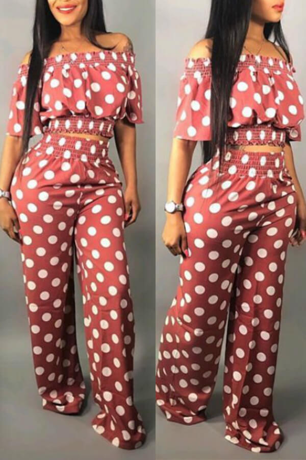 Lovely Sweet Off The Shoulder Dot Printed Pink Two-piece Pants Set