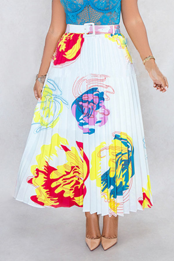 Lovely Stylish Printed White Ankle Length A Line Skirt