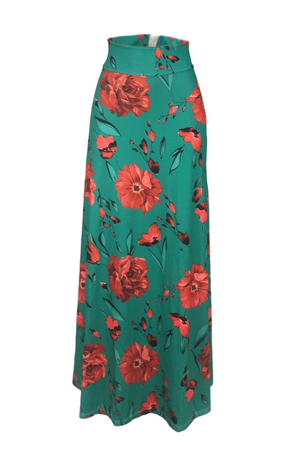Lovely Stylish High Waist Floral Printed Green Ankle Length A Line Skirt