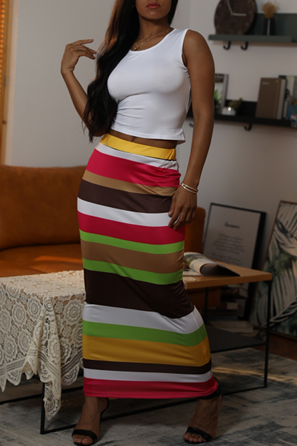 Lovely Casual O Neck Striped Printed Croci Two-piece Skirt Set