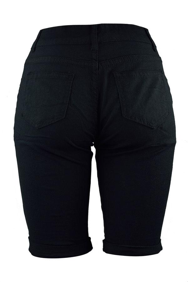 Lovely Trendy Broken Holes Black Shorts