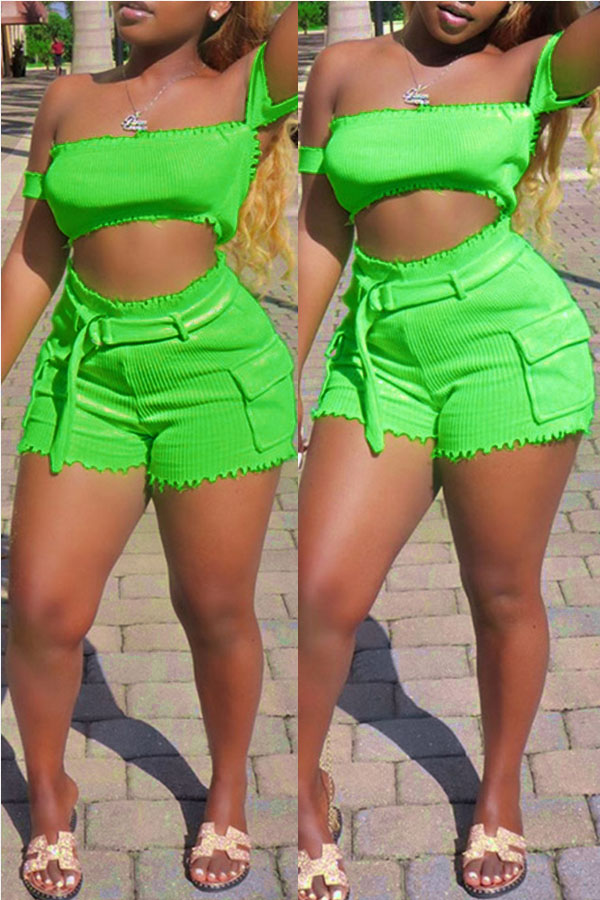 Lovely Casual Off The Shoulder Green Two-piece Shorts Set