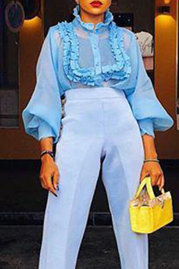 Lovely Sweet Mandarin Collar Puff Sleeve Baby Blue Chiffon Blouse