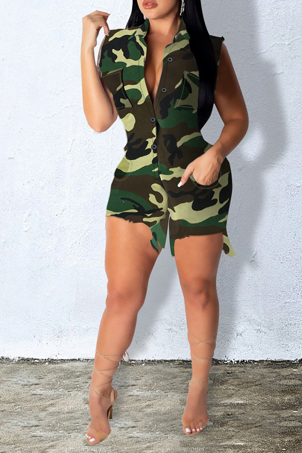 Lovely Leisure Camouflage Printed Cotton One-piece Romper