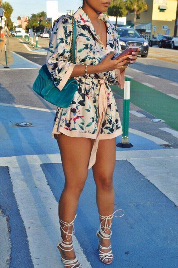 Lovely Work Printed Apricot One-piece Romper