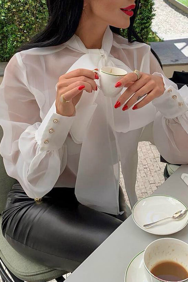 Lovely Sweet V Neck Bow-tie Decoration White Gauze Blouse