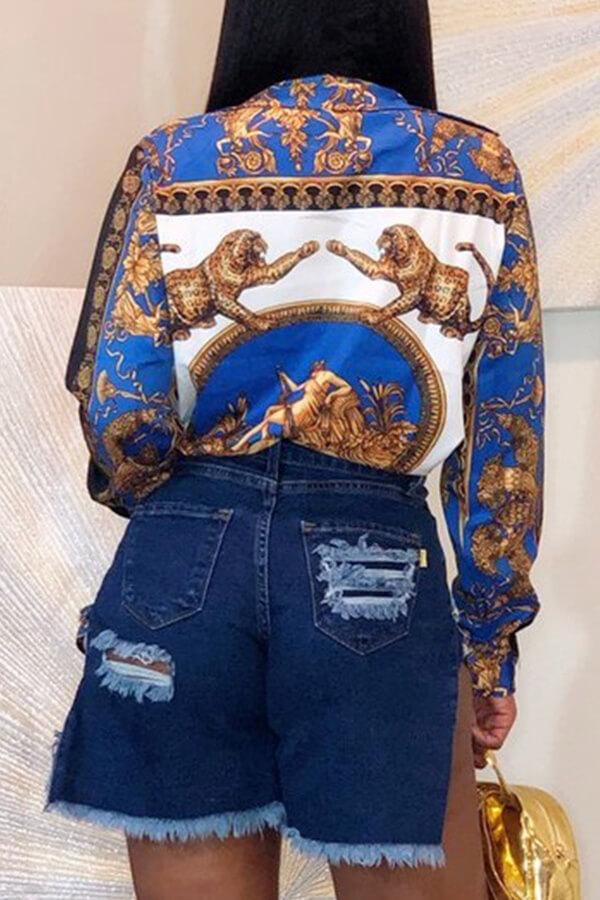 Lovely Stylish Turndown Collar Printed Blue Shirt