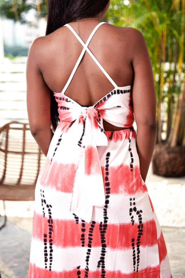Lovely Casual V Neck Printed Backless Pink Floor Length Beach Dress