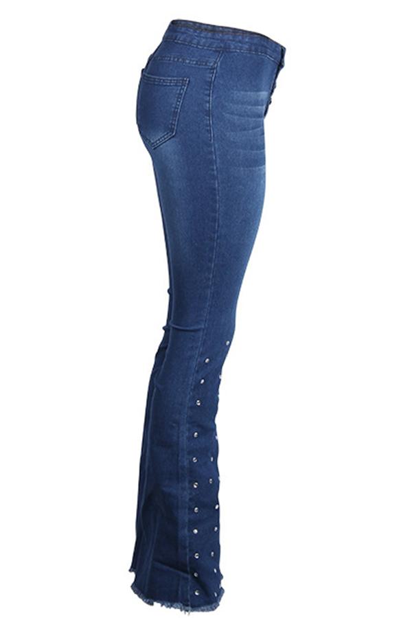 Lovely Casual High Waist Rhinestone Decoration Blue Jeans