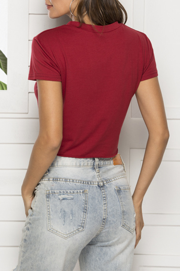 Lovely Casual Letter Printed Hollow-out Wine Red Cotton T-shirt