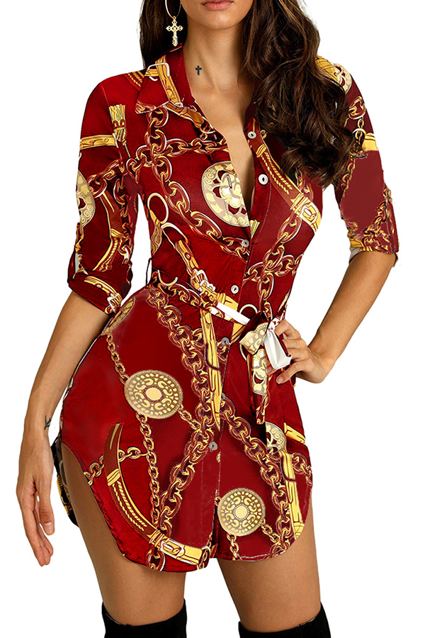 Lovely Stylish Turndown Collar Printed Red Mini Dress