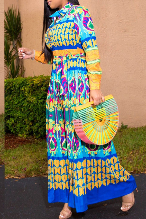 Lovely Bohemian Printed Blue Ankle Length A Line Plus Size Dress