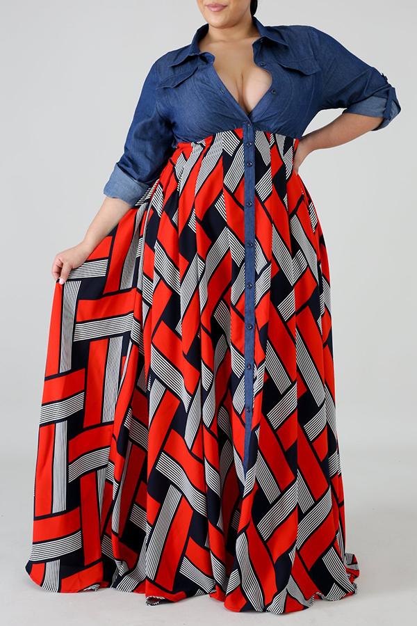 Lovely Casual Turndown Collar Printed Patchwork Red Ankle Length Plus Size Dress