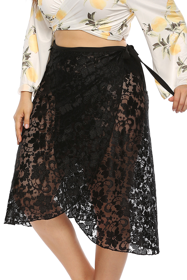 Lovely Sexy See-through Black Lace Skirt