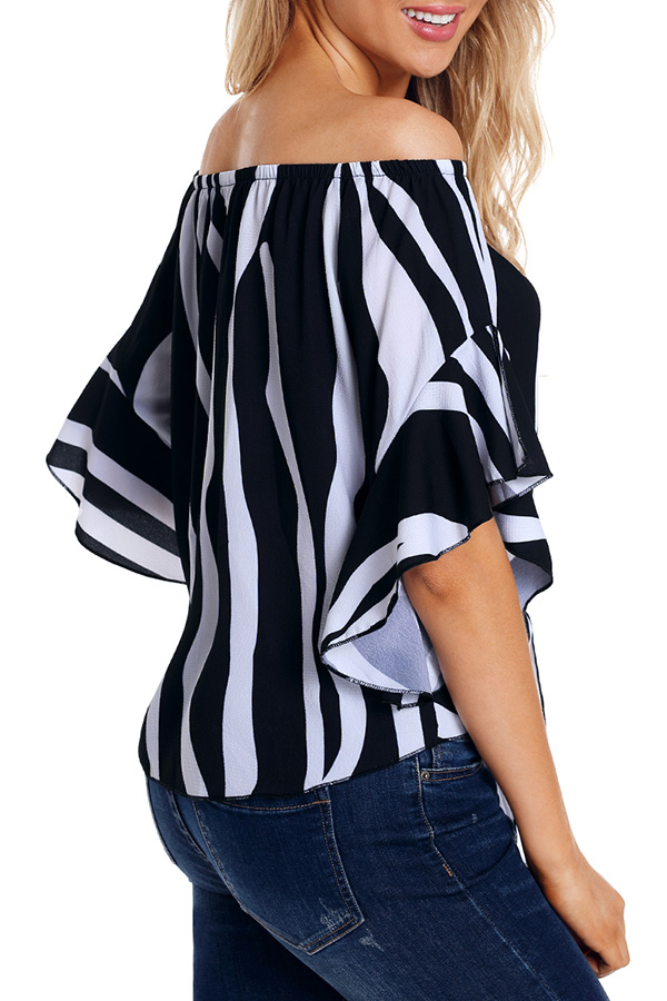 Lovely Stylish Off The Shoulder Striped Black Blouse
